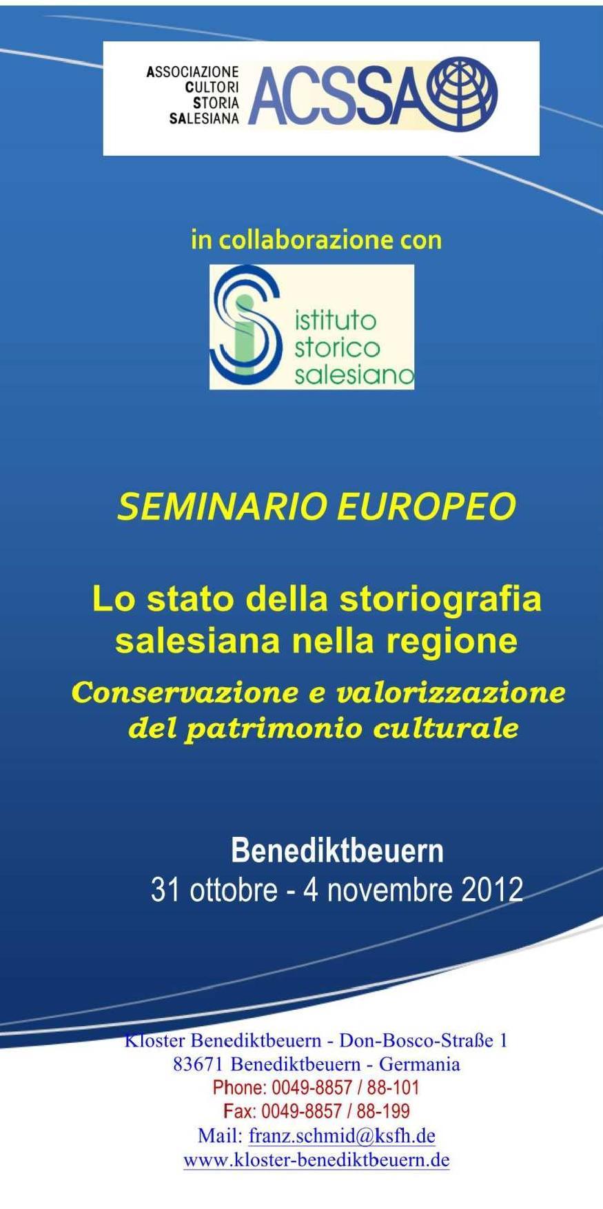 Locandina Seminario Europeo ACSSA